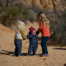 Our three kids running around